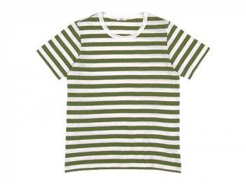 maillot ライトボーダー半袖Tシャツ TEA GREEN