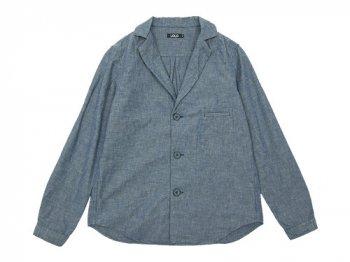 LOLO コットンシャンブレー ノッチドカラーシャツ BLUE
