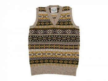 Jamieson's V NECK VEST LIGHT BROWN