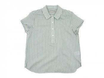 MARGARET HOWELL COTTON SILK BOLD STRIPE S/S SHIRTS 020GRAY 〔レディース〕