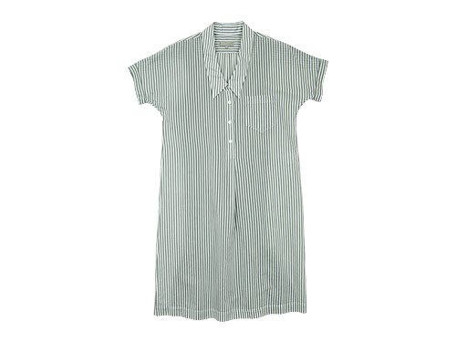 MARGARET HOWELL COTTON SILK BOLD STRIPE S/S ONE-PIECE 020GRAY 〔レディース〕