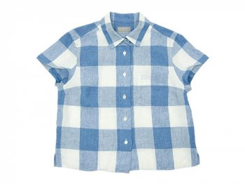 MARGARET HOWELL LARGE CHECK LINEN S/S SHIRTS 117BLUE