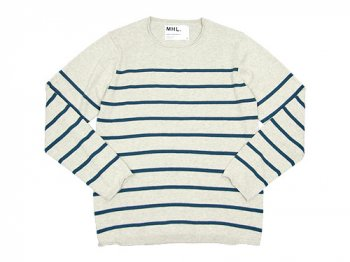 MHL. BULKY COTTON TWIST BORDER KNIT 043LIGHT GRAY 〔メンズ〕
