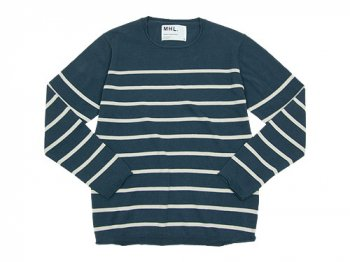 MHL. BULKY COTTON TWIST BORDER KNIT 114NAVY 〔メンズ〕