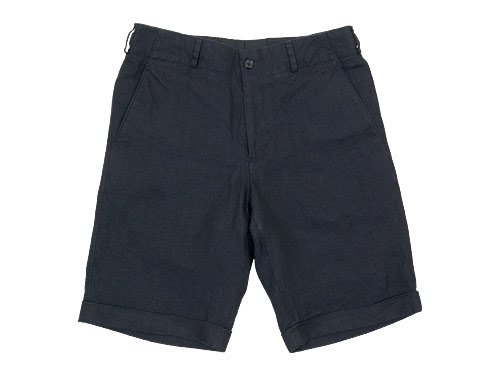 MARGARET HOWELL HERRINGBONE LINEN SHORTS 120NAVY 〔メンズ〕
