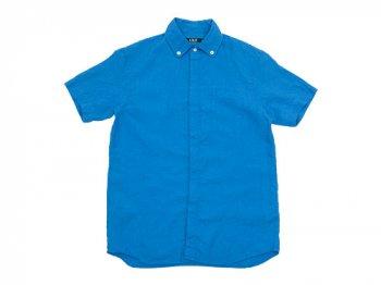 LOLO リネンB.D.比翼半袖シャツ BLUE
