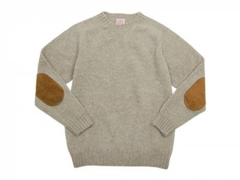 BRICK CREW NECK KNIT パッチ付き OATMILK