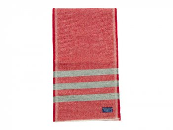 FARIBAULT WOOLEN MILL TRAPPER SCARF RED x GRAY
