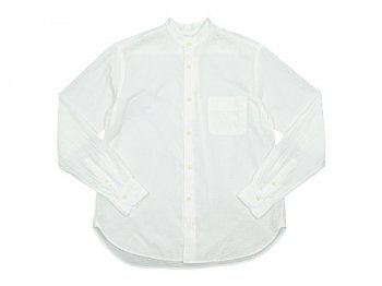 maillot gauze cotton stand collar shirts WHITE