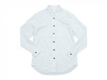 EEL 陶器釦のシャツ 25BLUE STRIPE