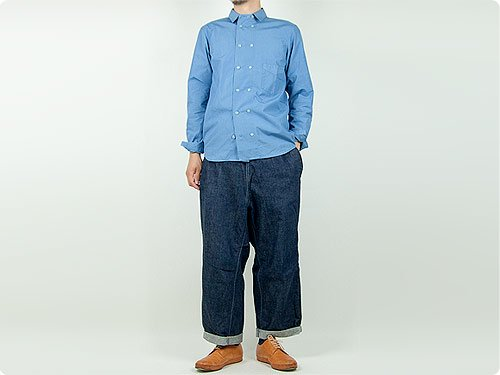 TATAMIZE DOUBLE BRESTED SHIRTS INDIGO SAX