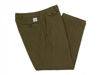 ENDS and MEANS Grandpa Wool Trousers OLIVE