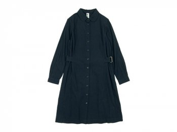 MHL. WASHED FLANNEL ONE-PIECE 120NAVY 〔レディース〕