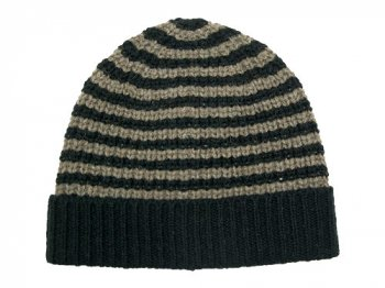 MHL. BULKY COURSE KNIT CAP 010BROWN x BLACK 〔レディース〕