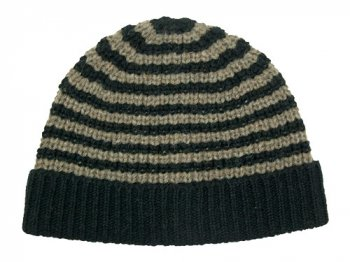 MHL. BULKY COURSE KNIT CAP 010BROWN x BLACK 〔メンズ〕