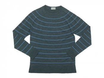 MARGARET HOWELL INTEGRAL STRIPE CREW KNIT 023GRAY〔メンズ〕
