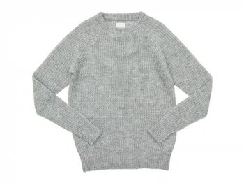 TOUJOURS Rib Stitch Crew Neck Pullover LIGHT GRAY