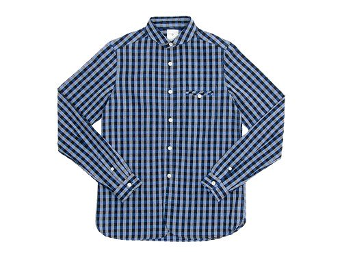 maillot sunset big gingham round work shirts BIG BLUE x BLACK