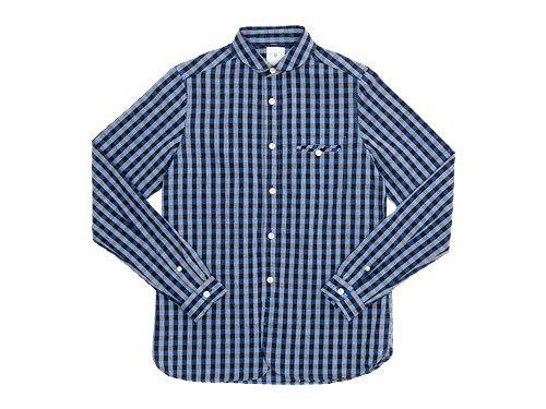 maillot sunset big gingham round work shirts BIG BLUE x BLACK