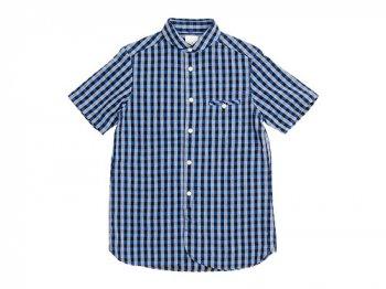 maillot sunset big gingham round work S/S shirts BIG BLUE x BLACK