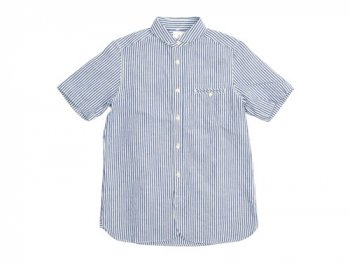maillot sunset stripe round work S/S shirts BLUE x WHITE