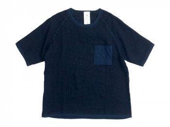 maillot linen shirts pocket T NAVY