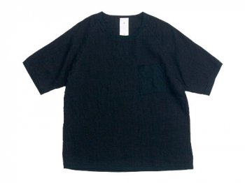 maillot linen shirts pocket T BLACK