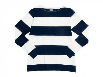 maillot wide pitch border long T WHITE x NAVY