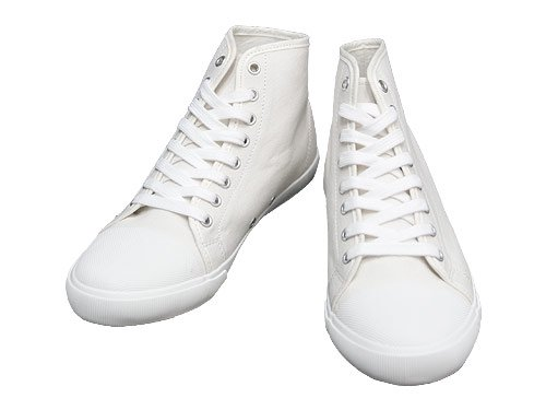 MHL. COTTON CANVAS HI-CUT SHOES 030WHITE