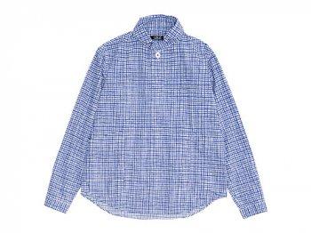 LOLO コットンプルオーバーペンシルチェックシャツ BLUE