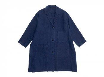 Lin francais d'antan Godard linen coat NAVY