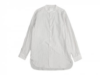 TOUJOURS Band Collar Long Shirts SMOKE WHITE
