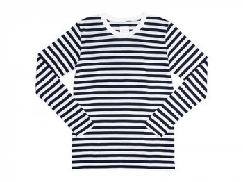 TOUJOURS Border Crew Neck Shirt WHITE x NAVY