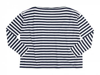 TOUJOURS Border Boat Neck Shirt WHITE x NAVY