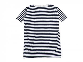 TOUJOURS Border Boat Neck Dress WHITE x NAVY