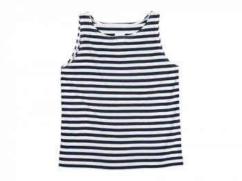 TOUJOURS Border Boat Neck Tank-top WHITE x NAVY