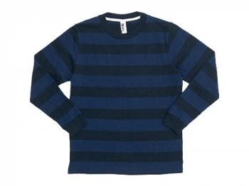 MHL. WIDE STRIPE JERSEY CUTSEW 121BLUE x NAVY〔メンズ〕