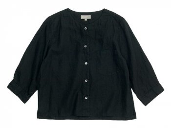 MARGARET HOWELL SHIRTING LINEN II NO COLLAR SHIRTS 010BLACK 〔レディース〕