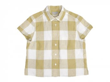 MARGARET HOWELL LARGE CHECK LINEN S/S SHIRTS 060MUSTARD 〔レディース〕