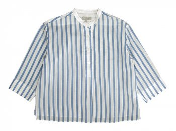 MARGARET HOWELL SILK COTTON BOLD STRIPE P/O SHIRTS 117BLUE STRIPE〔レディース〕