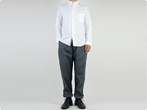 nisica 長袖ボタンダウンシャツ オックス WHITE