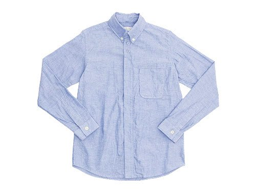 nisica 長袖ボタンダウンシャツ オックス BLUE
