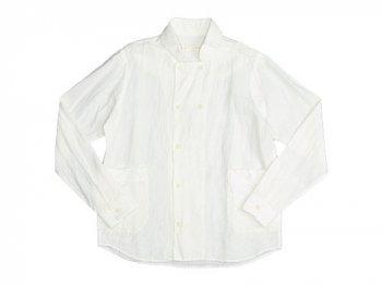 nisica 長袖ダブルボタンシャツ リネン WHITE