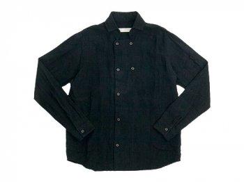 nisica 長袖ダブルボタンシャツ リネン BLACK