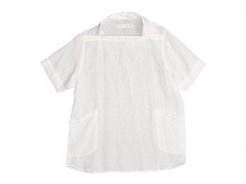 nisica 半袖デッキマンシャツ リネン WHITE