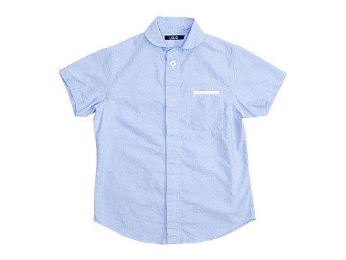 LOLO オックスシャンブレー 丸襟比翼半袖シャツ / 半袖スタンドカラーシャツ