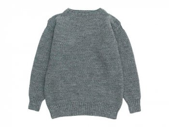 LE TRICOT DE LA MER GUERNSEY HONEY COMB SWEATER STEEL GRAY