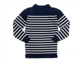 Guernsey Woollens Traditional guernsey stripe NAVY x ARAN
