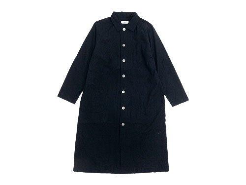 RINEN 2/80ウール平織 レギュラーカラーワンピース 10BLACK 〔レディース〕