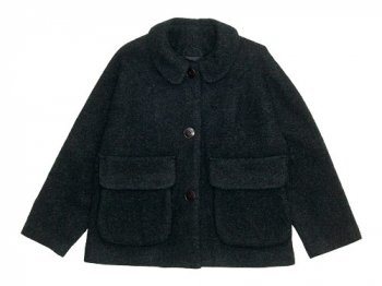 Lin francais d'antan Clouet(クルーエ) Round Collar Jacket Wool&Alpaca DARK GRAY